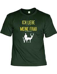 T-Shirt - Ich liebe meine Frau - Wenn ich Jagen darf - lustiges Sprüche Shirt für Jäger mit Humor - Geschenk Set mit Funshirt und Minishirt