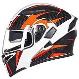 Hulinlian Incrociatore Aperto del Casco del Motociclo del Cavo Arancio Carbonio con Visiera di Sun per Il Casco Integrale del Pedale delle Donne degli Uomini, Certificazione di DOT,XXL(63~64cm)