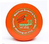 Crema Carota Sun®, a base di carota, per accelerare l'abbronzatura, con SPF15, con olio di carota, L-tirosina ed henné per una rapida abbronzatura dorata. Confezione da 200 ml.