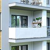 Jarolift Balkonbespannung wasserabweisend, Balkon-Sichtschutz 500 x 90cm (24 Ösen), cremeweiss