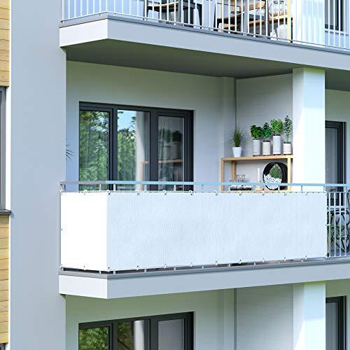 Jarolift Balkonbespannung wasserabweisend Balkon-Sichtschutz 600 x 75 cm cremeweiss