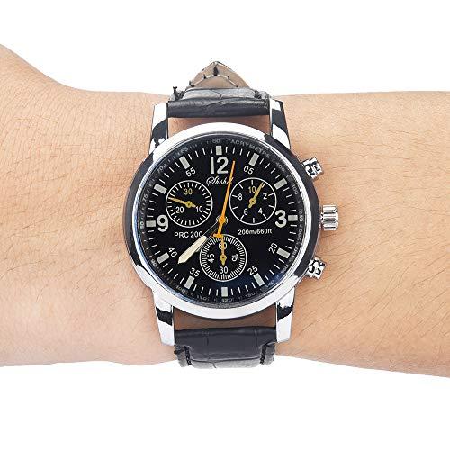 Mode Neue Uhren,Janly Blue-Ray-Glas-Neutral-Quarz Frauen Männer Uhren Leder Quarz Armbanduhr Luxus Marke Ultra-dünne Armbanduhr Business-Uhren (B)