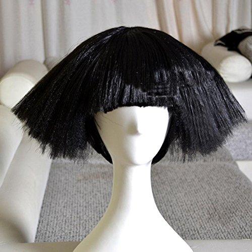 LADY GAGA (weiß / schwarz) Europa und die United States Perücke, DZW kurzer Explosionskopf - Nachtclub DS flauschige Perücke, 35cm , black 200g (Amy Winehouse Fancy Dress Kostüm)