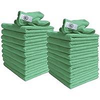 Paños de microfibra - Paquete de 20 Paños - Grandes 40cm x 40cm - Verde - Excelente para limpiar coches, barcos, cocinas, baños, espejos, etc. Calidad Contrato de confianza mediante la limpieza profesional- descuento suministros Rango Requisito Todos