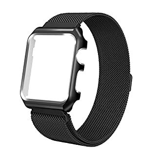 azerogo for Apple Watch Bands 42mm, Milanese Loop Stainless Steel Replacement Bracelet Strap for iWatch with Protective Case for Apple Watch Series 2 & Series 1 & Sport & Edition Version Black 42mm