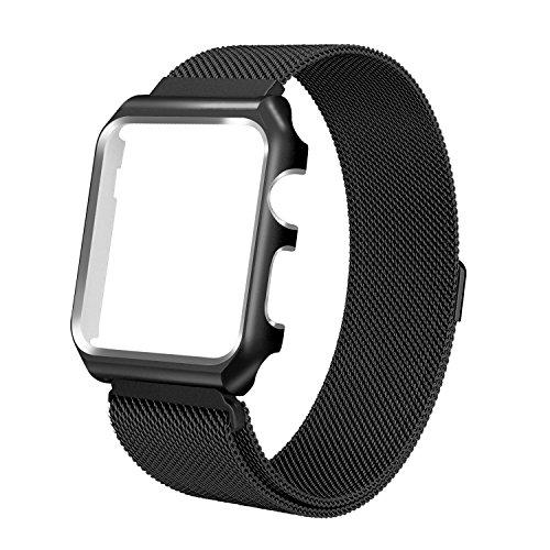 Watch Armband , ANGGO Uhrenarmband iwatch Strap Magnet Milanese Loop Ersatz Armbanduhr Gürtel mit Uhr Schutzhülle und Magnetverschluss Schließe für Apple Watch Serie 2 Serie 1 (42mm/Schwarz)