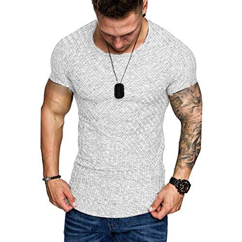 T-Shirt Herren Sommer Sport Rundhals Shirt Slim Fit Drucken Oansatz Kurzarm Bluse Outdoor Sweatshirt Männer Jogging Trikot Weiß Shirt