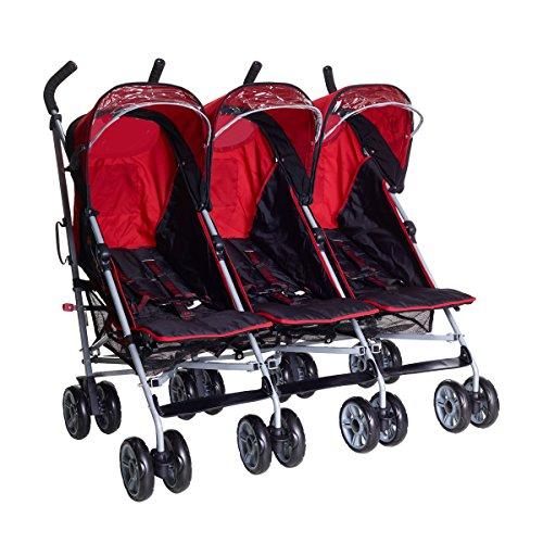 Kids Kargo Triple Pushchair with Raincover & Safety Strap Reflector Strips,Berry Red  kids kargo
