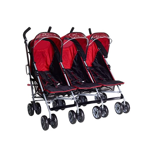 Kids Kargo Triple Pushchair with Raincover & Safety Strap Reflector Strips,Berry Red Kids Kargo  1