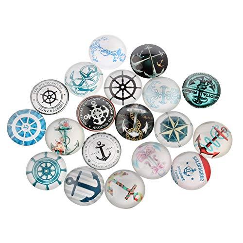 Arricraft 200 Stück Helm- und Anker-Druckglas-Cabochons aus Glas, halbrund, Kuppel, gemischte Farbe für die Schmuckherstellung, gemischt, 10x4mm Anker-gläser
