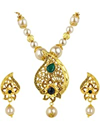 Spargz Antique Gold Plated AD Stone Small Pearl Long Chain With Filigree Pendant Necklace With Earring For Women...