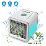 GESUNDHOME Personal Space Air Cooler - 3-in-1 Portable Mini Cooler, Humidifier & Purifier with 7 Colors LED Lights by (White)