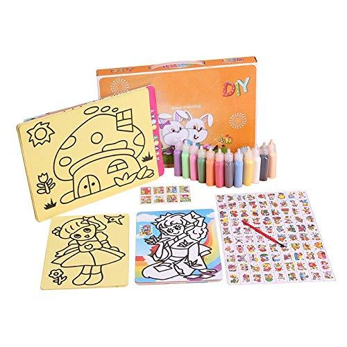 Kritzeleien Schreiben Zeichnen Kinder DIY 12 Farben Sand Malerei Spielzeug Set Handgemachte Kunst Kreation Intelligenz Kreativität Entwickeln Bildung 24 Papierkarten für Jungen Mädchen Lernspielzeug K