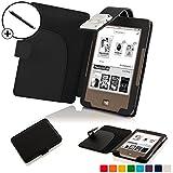 Forefront Cases® Tolino Page Shell Hülle Schutzhülle Tasche Bumper Folio Smart Case Cover Stand mit LED Licht - Leicht mit Rundum-Geräteschutz inkl. Eingabestift (Schwarz)
