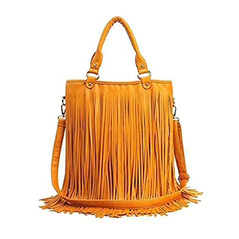 Win8Fong Women Faux Fringe Tassel Shoulder Bag Big Casual Tassels Hobo Handbag (Yellow)
