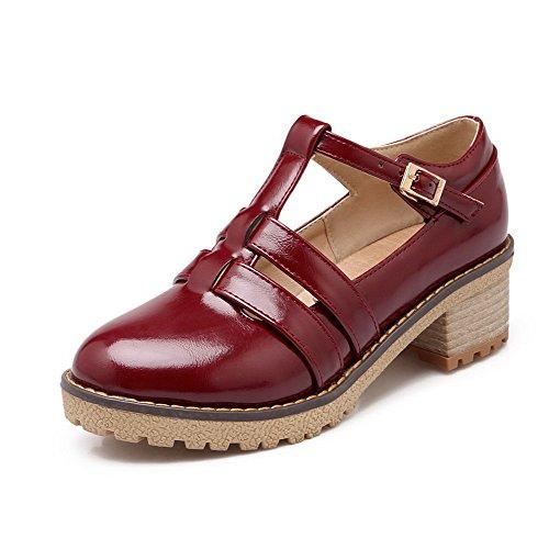 VogueZone009 Femme Boucle Rond à Talon Correct Couleur Unie Chaussures Légeres Rouge Vineux
