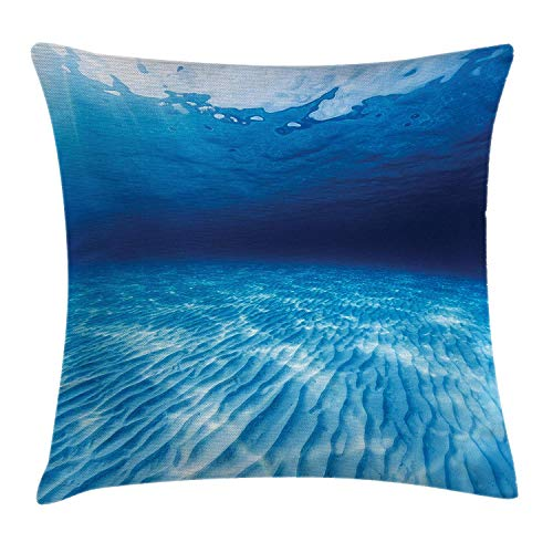Ocean Throw Pillow Cushion Cover, Underwater Shot of The Curled Sandy Bottom in Andaman Sea Thailand, Decorative Square Accent Pillow Case, 18 X 18 inches, Navy Blue Aqua and White