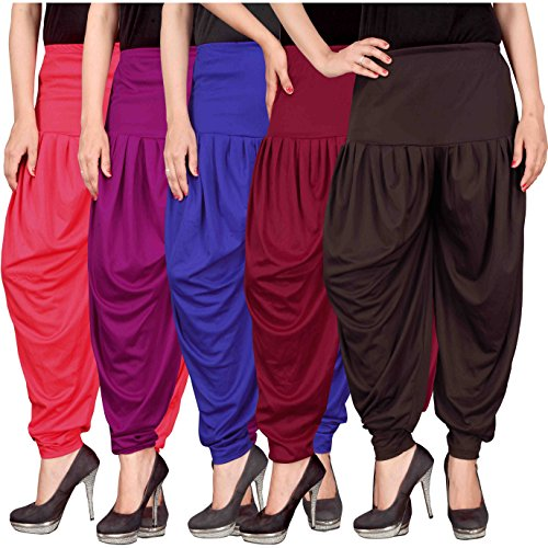 Culture the Dignity Women\'s Lycra Dhoti Patiala Salwar Harem Pants CTD_00PP1B1MB2_2-PINK-PURPLE-BLUE-MAROON-BROWN-FREESIZE -Combo Pack of 5