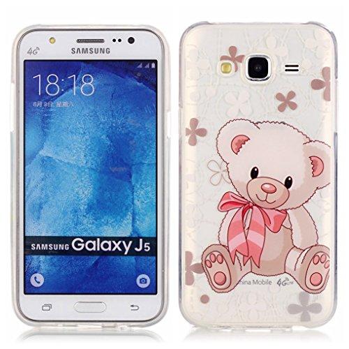 LOOKAY Coque Galaxy J5 2016,Etui Ultra Mince Housse Silicone Transparent pour Samsung Galaxy J5 2016 Coque de Protection en TPU avec Absorption de Choc Bumper et Anti-Scratch, Plume colorée 12HUA