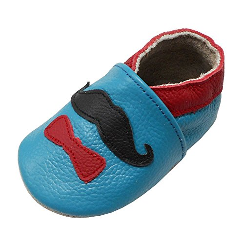 YALION Babys Erste Lauflernschuhe Leder Krabbelschuhe Hausschuhe Weiche Lederpuschen mit Sanfte Krawatte(12-18 Monate EU,Himmelblau) Klassisches 12