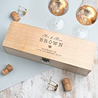 Personalised Wedding Gift Wine Box - Wooden Wedding Anniversary Keepsake Gift for Bride and Groom - Personalised Valentines Gift Wine Box - PLEASE NOTE: ALCOHOL BOTTLE NOT INCLUDED