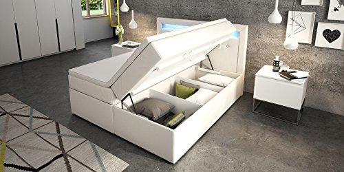 Boxspringbett mit Bettkasten weiß Delia2 LED Beleuchtung Doppelbett Hotelbett Topper (180x200cm)