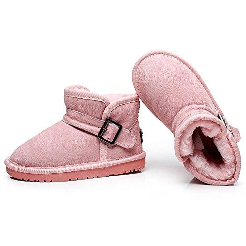 Shenn Filles Garçons Cheville Haut Entièrement Doublé de Fourrure Mode Boucle Suède Neige Démarrage SN1008 Rose