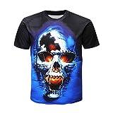 Herren T-Shirt,Pers5onlichkeit Mens 3D Print Skull beiläufige dünne kurzärmelige Shirt Top Bluse