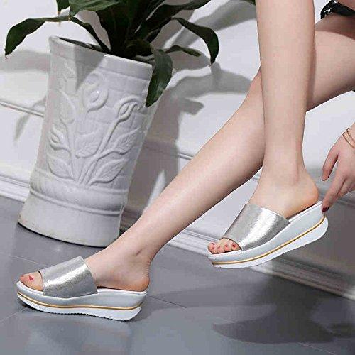 Estate Sandali Sandali donna Comfort UOMA Primavera Estate Abito casuale Abito elegante piattaforma Oro nero Argento piatto Colore / formato facoltativo Silver