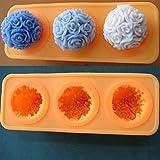 Wakehurst, stampo in silicone a 3 spazi per realizzare saponi e candele, Silicone, 3 Cavities Rose Ball