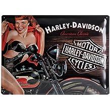 Nostalgic Art H D Biker Babe Red - Placa decorativa, metal, 30 x 40 cm, color negro y rojo