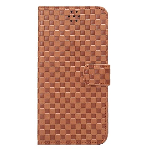 GHC Cases & Covers, Embossing Grid Texture Horizontale Flip PU Ledertasche mit Halter & Card Slots für iPhone 6 & 6S ( Color : Grey ) Coffee