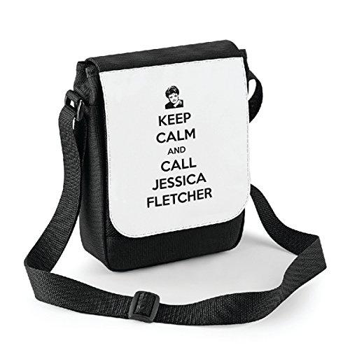 Mini borsa a tracolla Keep calm and call Jessica Fletcher - La signora in giallo - Jessica Fletcher - idea regalo -tracolla regolabile - misura 18x22 cm Bianco Venta Barata Gran Sorpresa kydptu87