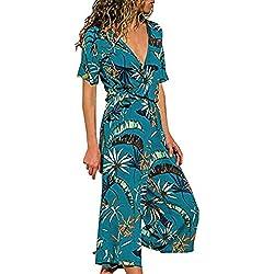 HCFKJ Combinaison Femme Ete,Casual Print Manches Courtes Jambe Large Pantalon Long Combi-Short Combinaisons De Femelles(Blue, XXL)