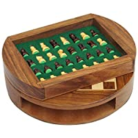 BingWS Chess Hand Magnetic Wooden Chess Set with Storage Drawer 9 Inch Diameter- Travel Chess Board Game Set with Chessmen Drawer Chess