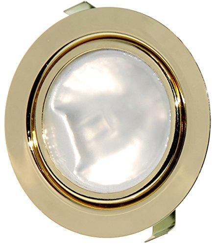1 Pack 12 Volt Möbel Einbaustrahler Luna inklusive 20 Watt Halogenleuchtmittel dimmbar AMP Stecker und Kabel Farbe: Gold -