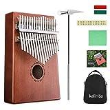 NASUM Daumenklavier Kalimba, Karimba Instrument 17 Schlüssel solid Finger Klavier, Akazienholz, mit Stimmwerkzeug, Musikinstrument Geschenk mit Tragetasche (Daumenklavier Kalimba)