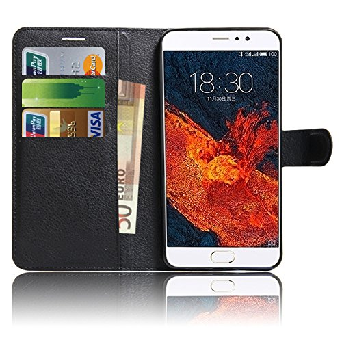 Meizu Pro 6 Plus, Anzhao Flip Capa Wallet com Slot para cartão de proteção estojo de couro para Meizu Pro 6 Plus (Black)