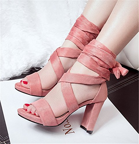 Wealsex damen blockabsatz sandalen Pink