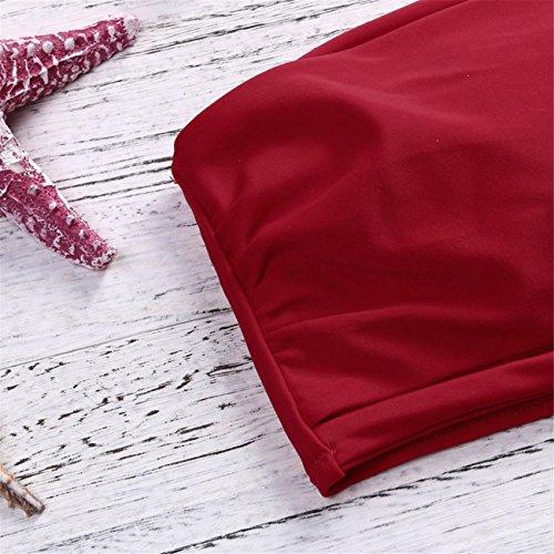 Donne Bikini Set A Vita Bassa Senza Spalline Costume Da Bagno Nuotare Costumi Swimwear Monokini Costume Da Beachwear Set Swimwear Spiaggia Estate Pezzi Fascia Vita Alta Rosso
