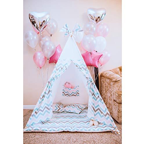 yl Geburtstag Fotohintergrund Mädchen 1 Geburtstag Dekor Ballon Chevron Muster Markise Fotoleinwand Hintergrund für Fotostudio Requisiten Party Baby Kinder Photo Booth ()
