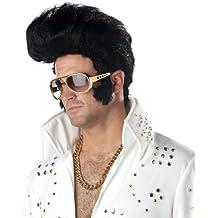 Deluxe Rock N Roll Elvis Wig Mens Fancy Dress 1950s Celebrity Costume Accessory (disfraz