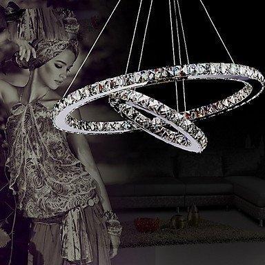 ALFRED® Cristallo di lusso moderno ha condotto il pendente con uniche due anelli,Modern Home soffitto lampade, luce del pendente Lampadari Illuminazione