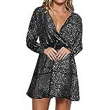 Vertvie Frauen Leopard Minikleid Tunikakleid Kleid Longbluse im coolen Leo-Print (Grau, XL)