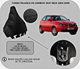 Funda Palanca de Cambios 100% Piel Color Negro Compatible SeatIbiza 2002-2008