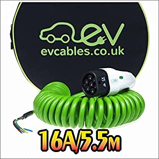 EV Cables Premium Ladekabel mit Bonus Tragetasche Spirale Typ 2 tethered - 16 amp | 5.5 meter | 3.6kW - Green