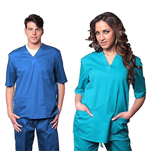 Divisa sanitaria in cotone 100% sanforizzato pantaloni + casacca scollo a v unisex uomo donna - medicale ospedaliera per medico infermiere oss estetista made in italy - xxl bianco