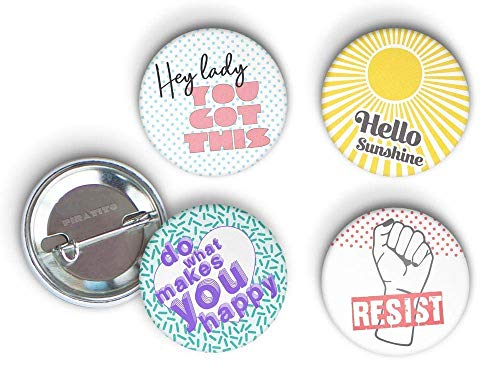4 x Protest and Empowerment bottoni perni o magneti, SCELTA DI 2 MISURE, Strong Woman, Girl Power