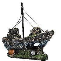 decoraciones del tanque de pescados, Kfnire ornamento del acuario del barco de pesca de la resina