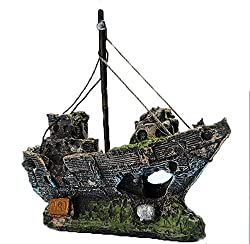 Kfnire Resin Fishing Boat Aquarium Ornament Plastic Decoration Plant for Fish Tank Accessories